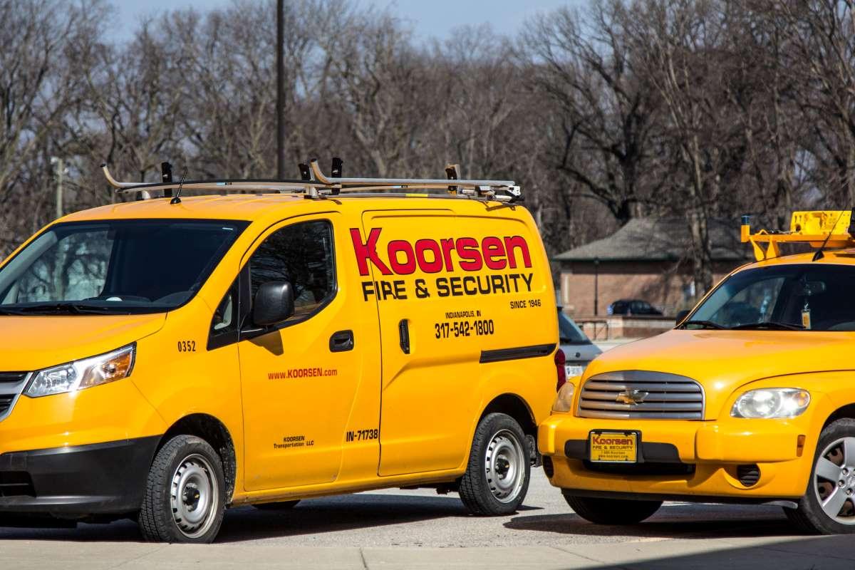 Koorsen fire sprinkler technicians at a fire sprinkler inspection and testing.