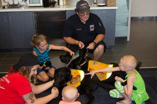 Kasey Program visits families from Ronald McDonald House at Nashville Sounds game.