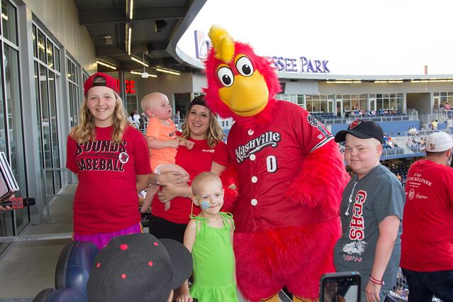 Nashille Sounds mascot visits families.