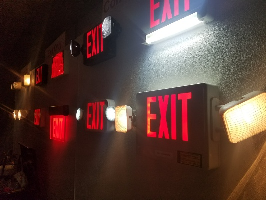 Exit Lights on Wall