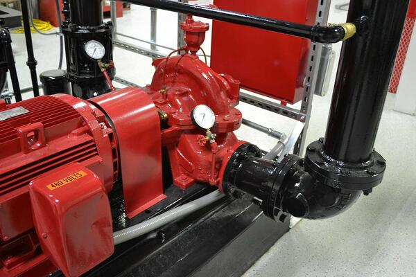 red and black fire pump at koorsen training center