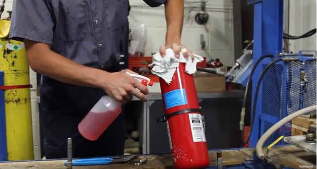 Clean Fire Extinguisher Cylinder