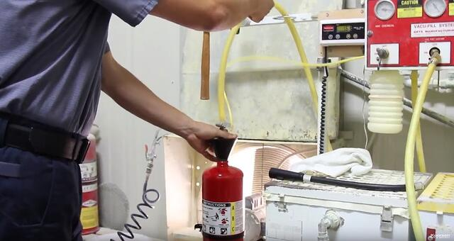 Fill Fire Extinguisher Cylinder with ABC Powder