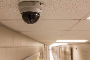 security camera in school hallway