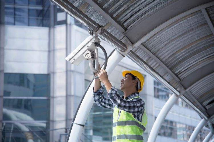 Installing security camera at business